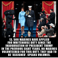 America, Memes, and Marines: 1  13, 506 MARINES HAVE APPLIED  FOR WHITEHOUSE DUTY SINCE THE  INAUGURATION OF PRESIDENT TRUMP  IN THE PREVIOUS EIGHT YEARS, NO MARINES  VOLUNTEERED FOR THIS DUTY, THEY HAD TO  BE 'ASSIGNED'. SPEAKS VOLUMES. Repost from @stand_for_freedom_ We're really witnessing patriotic revival guys. americanveterans veterans usveterans usmilitary usarmy supportveterans honorvets usvets america usa patriot uspatriot americanpatriot supportourtroops godblessourtroops ustroops americantroops semperfi military remembereveryonedeployed deployed starsandstripes americanflag usflag respecttheflag marines navy airforce