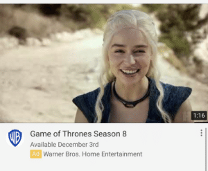 They even had to use a picture from an older season: 1:16  Game of Thrones Season 8  UB  Available December 3rd  Ad Warner Bros. Home Entertainment They even had to use a picture from an older season
