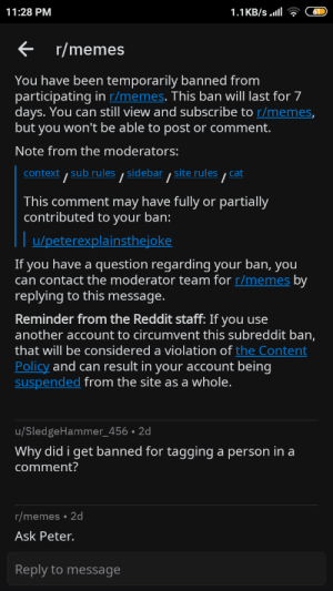 Memes, Reddit, and Content: 1.1KB/s.l  11:28 PM  r/memes  You have been temporarily banned from  participating in r/memes. This ban will last for 7  days. You can still view and subscribe to r/memes,  but you won't be able to post or comment.  Note from the moderators:  context,sub rules ,sidebar ,site rules  cat  /  /  This comment may have fully or partially  contributed to your ban:  u/peterexplainsthejoke  If you have a question regarding your ban, you  can contact the moderator team for r/memes by  replying to this message.  Reminder from the Reddit staff: If you use  another account to circumvent this subreddit ban,  |that will be considered a violation of the Content  Policy and can result in your account being  suspended from the site as a whole.  u/SledgeHammer_456 . 2d  Why did i get banned for tagging a person in a  comment?  r/memes 2d  Ask Peter.  Reply to message Great Mods