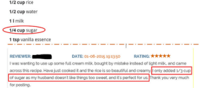 Beautiful, Facepalm, and Xxx: 1/2 cup rice  1/2 cup water  1 I milk  1/4 cup sugar  1 tsp vanilla essence  DATE: 01-06-2015 19:1350 RATING:xxx  REVIEWER  I was wanting to use up some full cream milk bought by mistake instead of light milk, and came  across this recipe. Have just cooked it and the rice is so beautiful and creamyI only added 1/3 cup  of sugar as my husband doesn't like things too sweet, and it's perfect for us. Thank you very much  for posting 1/4 is less than 1/3.....