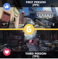 Video Games, Game, and Games: 1/2  ROUND  46  20 PONrs TOWN  FIRST PERSON  (FPS)  CAPTURE  L  30  90  Auto  THIRD PERSON  (TPS) Hi Gamologists. We need your opinion. What do you prefer, TPS or FPS? I personally enjoy FPS games more.