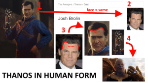 Ash, Avengers, and Hair: 1  2  The Avengers Thanos / Cast  face = same  Josh Brolin  3  4  hair style  al  THANOS IN HUMAN FORM Ash Williams is thanos in human form