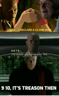 "Memes, Http, and Fate: 1 234... I DECLARE A CLONE WAR  567B.  The senate will decide your fate.  910, IT'S TREASON THEN <p>Thumb war memes, get em&rsquo; while they&rsquo;re hot! via /r/MemeEconomy <a href=""http://ift.tt/2D0pgxO"">http://ift.tt/2D0pgxO</a></p>"