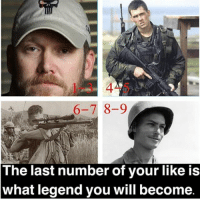 Memes, Survivor, and American Sniper: 1-3 4-5  6-7 8-9  The last number of your like is  what legend you will become Repost of the pic that I made!! - -Likes: 1-3 Chris Kyle (American Sniper) - Likes: 4-5 Marcus Luttrell (Lone Survivor) - - Likes: 6-7 Carlos Hathcock (White Feather) - Likes: 8-9 Desmond Doss (Hacksaw Ridge) - **Anyone 0 or 10 can be Chris Kyle or Desmond Doss! You can pick!** - This is a post I made. So if you you use it; please give me credit @thecombatpage . this post is to have some fun. If y'all enjoy this post I can make more! Let me know y'all! And comment who y'all become below! 👇👇 - - ChrisKyle MarcusLuttrell CarlosHathcock DesmondDoss AmericanSniper LoneSurvivor HacksawRidge NavySEAL Marines Army Military USA