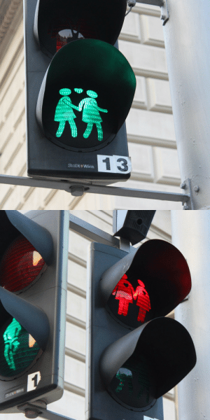 Cute, Saw, and Traffic: 1 3  StaDt+Wien goghtogo:  cute gay traffic lights i saw in vienna last summer 🌈