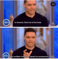 "America, Instagram, and Memes: 1/3  VIEWIn America I find a lot of the times  oc  ViEVpeople conflate Freedom  EWeople conflate Freedomof Speech as consequence free,bc THIS!! I block hateful trolls a lot and I'm usually pressured to unblock them on the grounds of ""free speech"". I'm not silencing, or stopping them from having an opinion, but I'm removing them from my platform for my own safety. They are welcome to post their views on their own instagram feed. (I usually only block actual trolls who are objectively antisemitic, racist, sexist etc., if you disagree with a post politely you won't be blocked.)"