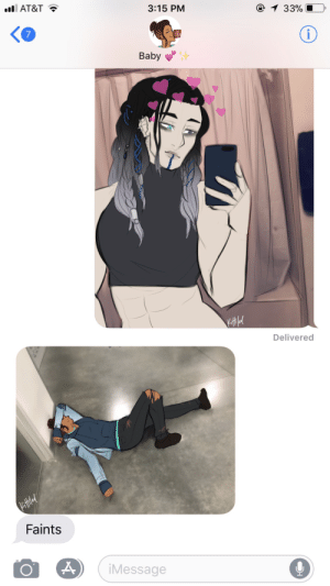 kaet-draws:    mighty nein modern au, feat. beauyasha  we're all beau tbh: 1 33%  3:15 PM  l AT&T  i  7  Baby  Delivered  Faints  iMessage kaet-draws:    mighty nein modern au, feat. beauyasha  we're all beau tbh