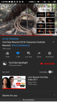 Missremiashten: 1:34 PM  YouTube  SEWIND  2 018  SHALOM BLAChical Guruji  skinnyindonesian24  LaurDIY  Alisha Marie  MissRemiAshten  Jordindian  NikkieTutorials  #2 ON TRENDING  YouTube Rewind 2018: Everyone Controls  Rewind | #YouTubeRewind  18M views  753K  1.5M  Live chat  Share  Download  YouTube Spotlight  27M subscribers  SUBSCRIBE  Up next  Autoplay  Let's Rewind YouTube  India 2017  Slayy Point  YouTube  2017  770K views  6:47  Stories for you  No connection