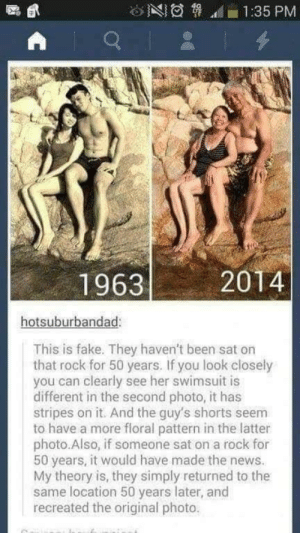 Dank, Fake, and Memes: 1:35 PM  19632  2014  hotsuburbandad:  This is fake. They haven't been sat on  that rock for 50 years. If you look closely  you can clearly see her swimsuit is  different in the second photo, it has  stripes on it. And the guy's shorts seem  to have a more floral pattern in the latter  photo.Also, if someone sat on a rock for  50 years, it would have made the news.  My theory is, they simply returned to the  same location 50 years later, and  recreated the original photo. me irl by LaterallyHitler MORE MEMES