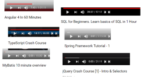 Spring, Starter Pack, and Sql: 1 ) 39:37 /57:12 K H  Angular 4 In 60 Minutes  SQL for Beginners. Learn basics of SQL in 1 Hour  14:17/4608  ) 0:01 / 2:15:34 一  TypeScript Crash Course  Spring Framework Tutorial -1  - ) 0:00 / 10:00  ▶  ) 0:03 / 21:11 K H  MyBatis 10 minute overview  Query Crash Course [1]- Intro & Selectors The New Intern Starter Pack