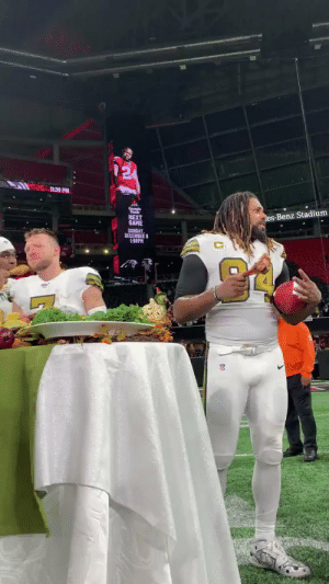 Cam Jordan dancing with a turkey leg. That is all. 😂🍗  @camjordan94 | #Saints https://t.co/3WDW8NmkC4: 1:39 PM  es-Benz Stadium  NEXT  GAME  SUNDAY  DECEMBER 8  1:00PM Cam Jordan dancing with a turkey leg. That is all. 😂🍗  @camjordan94 | #Saints https://t.co/3WDW8NmkC4