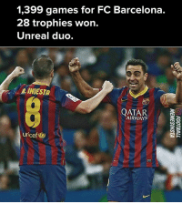 Wonned: 1,399 games for FC Barcelona.  28 trophies won.  Unreal duo.  INIESTo  AIRWAYS  uricef)