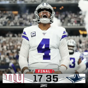 Memes, Giants, and 🤖: 1  4  30  FINAL  17 35 FINAL: @Dak's four TDs lead the @dallascowboys over the Giants! #NYGvsDAL #DallasCowboys https://t.co/XEuvVwalEx