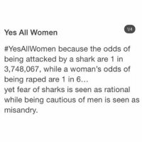 cautious: 1/4  Yes All Women  #YesAllWomen because the odds of  being attacked by a shark are 1 in  3,748,067, while a woman's odds of  being raped are 1 in 6..  yet fear of sharks is seen as rational  while being cautious of men is seen as  misandry.