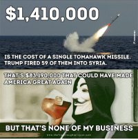 America, Memes, and Anonymous: $1,410,000  IS THE COST OF A SINGLE TOMAHAWK MISSILE.  TRUMP FIRED 59 OF THEM INTO SYRIA.  S$83.190,000 THAT COULD HAVE MADE  THATS AMERICA GREAT AGAIN  BUT THAT'S NONE OF MY BUSINESS  www.th  e fre  hought project.com #Anonymous