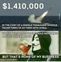 America, Memes, and Business: $1,410,000  IS THE COST OF A SINGLE TOMAHAWK MISSILE.  TRUMP FIRED 59 OF THEM INTO SYRIA.  THATS$83,190,000 THAT  COULD HAVE MADE  AMERICA GREAT AGAIN  BUT THAT'S NONE OF MY BUSINESS  www.thefre hought project com Oh well