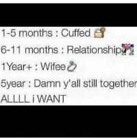 Memes, 🤖, and All: 1-5 months : Cuffed  6-11 months : Relationship  1 Year+ : Wifee  5year Damn y'all still together  ALLLL i WANT all I want but.. 😭