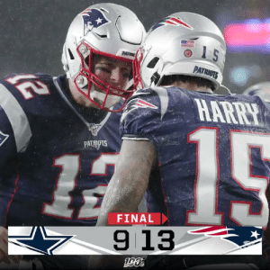 FINAL: The @Patriots improve to 10-1! #GoPats #DALvsNE https://t.co/vZUAuokzA1: 1 5  PATR  PATRIOTS  HARRY  PATRIOTS  FINAL  913 FINAL: The @Patriots improve to 10-1! #GoPats #DALvsNE https://t.co/vZUAuokzA1