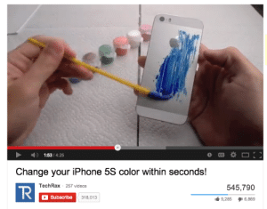Iphone, Videos, and Change: 1:53/4:25  Change your iPhone 5S color within seconds!  TechRax 257 videos  R  545,790  Subscribe  318,013  9,285  6,889