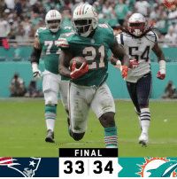 Memes, 🤖, and Win: 1  54  FINAL  3334 FINAL: The @MiamiDolphins win on a miracle TD! #FinsUp  #NEvsMIA https://t.co/NFUowOAiSG