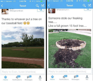 Full Grown: 1 55%  ooo Verizon LTE  5:46 PM  55%  o0o Verizon LTE  5:46 PM  Tweet  Tweet  @PatrickHunt11  @MargerumEvan  Someone stole our freaking  Thanks to whoever put a tree on  tree.....  our baseball field  Like a full grown 15 foot tree....  WLDCATS  Reply to patchrik, kuran bhardwaj  Reply to Evan, kuran bhardwaj  11  11  Notifications  Home  Notifications  Messages  Me  Home  Messages  Me