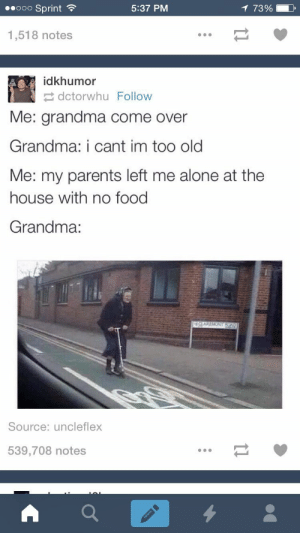 Grandma irlomg-humor.tumblr.com: 1 73%  00000 Sprint ?  5:37 PM  1,518 notes  idkhumor  2 dctorwhu Follow  Me: grandma come over  Grandma: i cant im too old  Me: my parents left me alone at the  house with no food  Grandma:  Source: uncleflex  539,708 notes Grandma irlomg-humor.tumblr.com