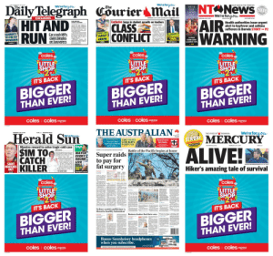 "Alive, Halo, and News: $1.90WEDNESDAY, JULY 1  Daily Telegraph Cöurier Mail  HIT AND  RUN  We're foryow  We're foryow  The  NT News  The  YOUR VOICE IN THE TERRITORY  WE'VE  GOT  LADIES  DAY  RECIONA  2018  We're foryow  EXCLUSIVE  VEAR  THE  WEDNESDAY, JULY 17.209S1.90 INCL GST  COVEREDWednesday, July 17,2019  COURIERMAILCOM.AU  CLARE ARMSTRONG  &DANIELLE  Exclusive Surge in student assaults on teachers  ntnews.com.au  S190 n GST  MESSURIER  AIR  WARNING  TAXPAYERS have taken a fi  CLASS  CONFLICT  Health authorities issue urgent  alert to hayfever and asthma  sufferers in Darwin STORY P2  STEPHANIE BENNETT  fx ""dings"" and other scrapes in  VIOLENT attacks and  threats against Queensdand  some accident-prone MPs mak  ing multipeCommonwealth  havemand to erd cs  wwdaca e  SEAMAN'S  TIT-FOR-TAT  SHOWDOWN  Car crash MPs  daim bingles  on taxpayers  SYDNEY CLUBS  TARGET  ARROW  funded and MPs also have their  oaed  P.J. PISASALE'S  EXTORTION  TRIAL  bw taxres with at least I5  of punching biting and  oths to s  tacks an the namber of  Melbourne  Greens  MP  12-PAGE  FORM GUIDE  &EXPERT TIPS  the Department of Eda-  cmbed to 442 in  $454 55 for a din  hicle in August AU  tn hc  PAGE 9  SPORT  SEE PAGES S-9  >P37  coles  coles  coles  LITTLE  SHOP  $2  LITTLE  SHOP  2  LITTLE  SHOP  2  IT'S BACK  IT'S BACK  BIGGER  THAN EVER!  IT'S BACK  BIGGER  THAN EVER!  BIGGER  THAN EVER!  coles coles express  coles coles express  coles coles express  SS  THE AUSTRALIAN  WEDNESDAY ALY 17, 2019  Herald Sun  S1.90  HERALDSUN.COM.AU  We're for you  We're for yow  THE VOICE OF  TASMANIA  www.THEAUSTRALIAN.COM.AUI FOR THE INFORMED AUSTRAILIA  MERCURY  MAGGIE BEER'S PLEA  You can't feed  aged-care residents FORTUNE  on $7 a day  $TADAY  THE FIGHT  FOR BOB'S  Saint loses T K.F.C.  his halo  7-DAY PAPERDELIVERY  DETAILS: PAGE 15  Conditions apply  Massive reward to solve tragic cold case 