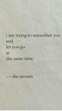 Time, Remember, and You: 1 am trying to remember you  and  let you go  at  the same time.  the mourn