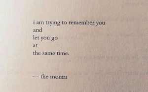 Time, Remember, and You: 1 am trying to remember you  and  let you go  at  the same time.  - the mourn