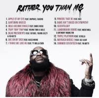 Rick Ross' new album tracklist featuring Young Thug, Meek Mill, Nas, Future, Gucci Mane & more 👀 https://t.co/iZce8kmHzm: 1. APPLE OF MY EYE  FEAT. RAPHAEL SAADIQ  2. SANTORINI GREECE  3. IDOLS BECOME RIVALS  FEAT. CHRIS ROCK  4. TRAPTRAPTRAPFEAT YOUNG THUG & WALE  5. DEAD PRESIDENTS FEAT FUTURE, YOUNG JEEZY  & YO GOTTI  6. SHE ON MY DICK FEAT.GUCCIMANE  7. THINK SHE LIKE ME  FEAT TY DOLLA SIGN  8. POWERS THAT BE FEAT NAS  9. GAME AIN'T BASED ON SYMPATHY  10. SCIENTOLOGY  11. LAMBORGHINI DOORS FEAT MEEK MILL  ANTHONYHAMILTON  12. TRIPLE PLATINUM  FEAT. SCRILLA  13. MAYBACH MUSIC V FEAT DEJ LOAF  14. SUMMER SEVENTEEN  FEAT YO GOTT Rick Ross' new album tracklist featuring Young Thug, Meek Mill, Nas, Future, Gucci Mane & more 👀 https://t.co/iZce8kmHzm