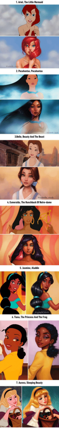 """<p><a href=""""http://laughoutloud-club.tumblr.com/post/160008569364/illustrator-repaints-disney-princesses-in-gorgeous"""" class=""""tumblr_blog"""">laughoutloud-club</a>:</p>  <blockquote><p>Illustrator Repaints Disney Princesses In Gorgeous New Digital Series</p></blockquote>: 1. Ariel, The Little Mermaid  2. Pocahontas, Pocahontas  3.Belle, Beauty And The Beast  4. Esmeralda, The Hunchback Of Notre-dame  5. Jasmine, Aladdin  eisabelle staub  6. Tiana, The Princess And The Frog  7. Aurora, Sleeping Beauty <p><a href=""""http://laughoutloud-club.tumblr.com/post/160008569364/illustrator-repaints-disney-princesses-in-gorgeous"""" class=""""tumblr_blog"""">laughoutloud-club</a>:</p>  <blockquote><p>Illustrator Repaints Disney Princesses In Gorgeous New Digital Series</p></blockquote>"""