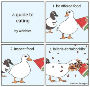 Inspect: 1. be offered food  a guide to  eating  by Wobbles  2. inspect food  3. brlbrlelebrbrbbrlrlbr  chicken thoughts