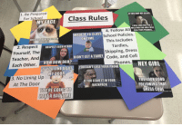 class rules: 1. Be Prepared  For School  IF YOU SKIP MY CLASS,  Class Rules  MY FACE  WILL LOOK FOR YOU.  WILL FIND YOU AND IWILL  CALL YOUR PARENTS  4. Follow All  School Policies.  This Includes  Tardies,  Skipping, Dress  Code, and Cell  MADEIT TO CLASS  ON TIME  WHEN YOU ARENOT PREPARED  FORCLASS  2. Respect  Yourself, The  Teacher, And  Each Other.  RESPECT EACH OTHER  DIDN'T GET ATARDY Cod  HOW BOW DAH?  IFYOU LINE UPAT  MY DOOR  Phones.HE  ATYOUCAN'T LOSE YOUR PHONE  YOUICAN'T LOSE YOUR PHONE  3. No Lining Up  At The Door  YOU LOON GOOn  FOLLOWING THAT  DRESS CODE  IF YOU LEAVE IT IN YOUR  BACKPACK  NSTRUCTC  TO  YOUERE GOING  AVEA BADTIME  memegeneratornet  rierutor.