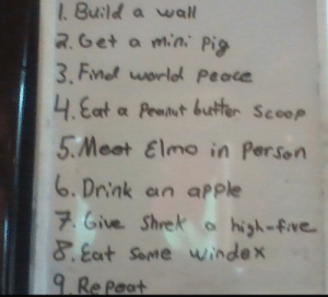 Apple, Elmo, and Friends: 1. Build a wall  R.Get a min Pig  3, Fnot world peace  4.Eat a Peanut buetter Scoop  5.Meet Elmo in Person  6.Drink an apPle  7. Give Shrek ahigh-five  &at Some windex  9.Re Paat My friends to-do list