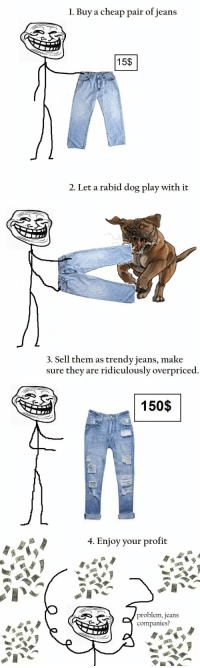 rabid dog: 1. Buy a cheap pair of jeans  15$  2. Let a rabid dog play with it  3. Sell them as trendy jeans, make  sure they are ridiculously  overpriced  150$  4. Enjoy your profit  problem, jeans  companies?