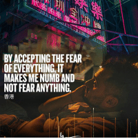 Memes, Watch, and Fear: 1  BY ACCEPTING THE FEAR  OF EVERYTHING, IT  MAKES MENUMB AND  NOT FEAR ANYTHING  香港 This came out of my mouth in my new vlog DailyVee 265 ... linked in my profile ... go watch now!!! vlogger entrepreneurship
