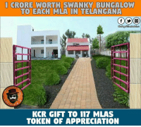 Baboi 😐😐 After Hearing This I Was Like  Daaaaaaammmnnnn: 1 CRORE WORTH SWANKY BUNGALOW  TO EACH MLA IN  TELANGANA  Dis Pa  entertain  PAGE  RTAT  KCR GIFT TO 117 MLAS  TOKEN OF APPRECIATION Baboi 😐😐 After Hearing This I Was Like  Daaaaaaammmnnnn