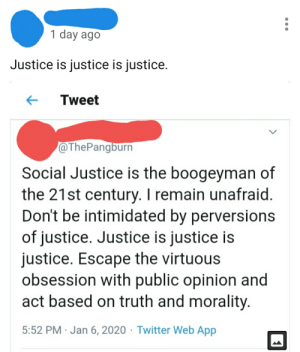M'justice: 1 day ago  Justice is justice is justice.  Tweet  @ThePangburn  Social Justice is the boogeyman of  the 21st century. I remain unafraid.  Don't be intimidated by perversions  of justice. Justice is justice is  justice. Escape the virtuous  obsession with public opinion and  act based on truth and morality.  5:52 PM · Jan 6, 2020 · Twitter Web App M'justice
