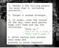 "Target, The Following, and Never: 1. Gather a few willing people  (no more than 3, including  yourself)  2. Target a random stranger  3. In order, over the course  of the day, have each person  bump into them and say the  following:  ""Wake up.  ""You're in a coma.""  ""This isn't real.""  T1  4. After saying your phrase,  walk away and  pretend it never happened"