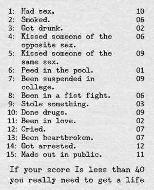 College, Drugs, and Drunk: 1: Had sex,  10  2: Smoked.  3: Got drunk  4: Kissed someone of the  06  02  06  opposite sex  5: Kissed someone of the  09  same sex.  6: Peed in the pool.  7: Been suspended in  college  8: Been in a fist fight  9: Stole something  10: Done drugs  11: Been in love.  01  09  06  03  09  02  12: Cried  13: Been heartbroken.  14: Got arrested.  07  07  12  15: Made out in public.  11  If your score Is less than 40  you really need to get a life Being heartbroken and sad is more kewl than getting drunk