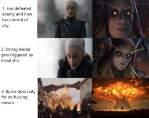 Dumb, Fucking, and Shit: 1. Has defeated  enemy and now  has control of  city.  2. Strong leader  gets triggered by  trivial shit  3. Burns down city  fucking  for  no  reason Just a reminder that World of Warcraft did the exact same dumb plot last year as The Bells