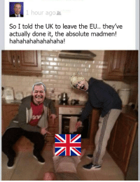They've only gone and done it: 1 hour ago  So I told the UK to leave the EU.. they've  actually done it, the absolute madmen!  hahahahahahahaha! They've only gone and done it