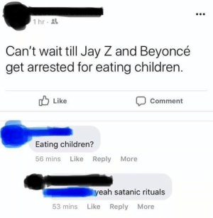 Next I'm expecting accusations the beyhive are secret cult members.: 1 hr  Can't wait till Jay Z and Beyoncé  get arrested for eating children.  Like  Comment  Eating children?  56 mins Like Reply More  yeah satanic rituals  53 mins Like  Reply More Next I'm expecting accusations the beyhive are secret cult members.