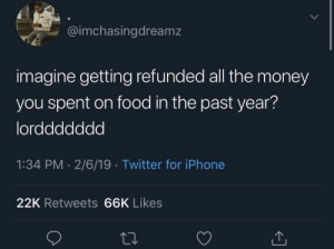 Dank, Food, and Iphone: 1  @imchasingdreamz  imagine getting refunded all the money  you spent on food in the past year?  lorddddddd  1:34 PM 2/6/19 Twitter for iPhone  22K Retweets 66K Likes Probably gonna use the money to buy food again by InRagexd MORE MEMES