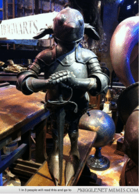 """<p>A suit of armour for a house elf. <a href=""""http://ift.tt/1G3gp93"""">http://ift.tt/1G3gp93</a></p>: 1 in 3 people will read this and go to  MUGGLENET MEMES.COM <p>A suit of armour for a house elf. <a href=""""http://ift.tt/1G3gp93"""">http://ift.tt/1G3gp93</a></p>"""
