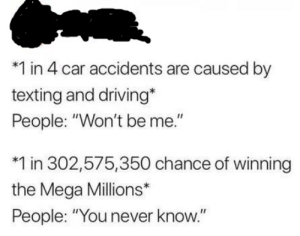 "Why though: *1 in 4 car accidents are caused by  texting and driving*  People: ""Won't be me.""  1 in 302,575,350 chance of winning  the Mega Millions*  People: ""You never know."" Why though"