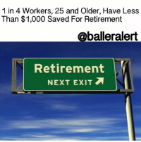 Memes, 🤖, and Account: 1 in 4. Workers, 25 and Older, Have Less  Than $1,000 Saved For Retirement  @baller alert  Retirement  NEXT EXIT 1 in 4 Workers, 25 and Older, Have Less Than $1,000 Saved For Retirement -blogged by: @msjennyb ⠀⠀⠀⠀⠀⠀⠀⠀⠀ ⠀⠀⠀⠀⠀⠀⠀⠀⠀ Have you thought about a retirement plan? If so, do you think you have enough money to retire and live comfortably? ⠀⠀⠀⠀⠀⠀⠀⠀⠀ ⠀⠀⠀⠀⠀⠀⠀⠀⠀ Apparently, many people have little to nothing saved for the next chapter, however more than half of those people believe that when the time comes, they will have enough saved to live comfortably. The Employee Benefit Research Institute sponsored the survey of 1,000 people age 25 and over, asking questions pertaining to an individual's confidence in their retirement plan. In the study, Employee Benefit Research Institute found that about 50% of the people surveyed have less than $25,000 saved for retirement. About half of those workers have said that combined with their spouse, they have less than $1,000 saved for retirement. ⠀⠀⠀⠀⠀⠀⠀⠀⠀ ⠀⠀⠀⠀⠀⠀⠀⠀⠀ Obviously, when talking retirement, the age-range of retirees is an important aspect to factor into the amount saved. According to reports, $25,000 is a decent amount to have saved by the age of 30, if an individual is earning $50,000 a year, as many financial advisers encourage workers to put away about 10% of their income, annually. However, based on the survey, more than half of the individuals involved say that they are content with putting away much less. However, the bigger issue with the lack of retirement preparation and savings, is not that people won't save, it is that they don't have the means to. ⠀⠀⠀⠀⠀⠀⠀⠀⠀ ⠀⠀⠀⠀⠀⠀⠀⠀⠀ According to CNNMoney, most of the people who have reportedly saved less than $1,000, don't have access to a retirement savings plan at work, i.e. 401(k). As a whole, about 55 million people in this country don't have access to such a plan. However, in an attempt to combat this issue, President Obama instituted a new pro