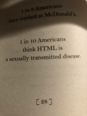 Facts, McDonalds, and Book: 1 in 8 Americans  orked at McDonald's.  1 in 10 Americans  think HTML is  a sexually transmitted disease.  281 Found in a book of facts