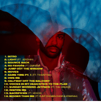 Big Sean, Eminem, and Memes: 1. INTRO  2. LIGHT (FT JEREMIH)  3. BOUNCE BACK  4. No FAVORS (FT-EMINEM)  5. JUMP OUT THE wINDow  6. MMOVES  7. SAME TIME PT. 1 (FT TWENTY88)  B. OWWE MME  9. HALFWAY OFF THE BALCONY  1 O. VOICES IN MY HEADISTICK TO THE PLAN  1 1. SUNDAY MORNING JETPACK (FT THE DREAM  12 INSPIRE MIE  13. SACRIFICES (FT MIGOS)  1 4. BIGGER THAN ME (FT FLINT CHOZEN CHOIR & STARRAH) Tracklist for Big Sean's new album 'I Decided' dropping Friday
