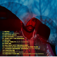 Memes, Bigsean, and New Album: 1 INTRO  2. LIGHT (FT JEREMIH)  3. BOUNCE BACK  4. NO FAVORS (FT EMINEM)  5. JUMP OUT THE WINDow  6. MOVES  7. SAME TIME PT 1 (FT TWENTY88)  B. OWE ME  9. HALFWAY OFF THE BALCONY  1 O. VOICES IN MY HEADISTICK TO THE PLAN  1 1. SUNDAY MORNING JETPACK (FT. THE DREAM)  12. INSPIRE ME  13. SACRIFICES (FT MIGOS)  14. BIGGER THAN ME (FT FLINT CHOZEN CHOIR STARRAH) Tracklist for BigSean's new album 'I Decided' dropping Friday WSHH